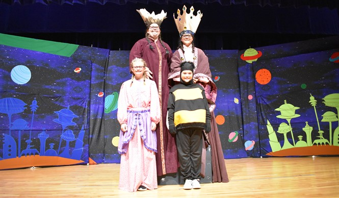 The Giant King, Queen, Princess, and Wasp from Missoula Children's Theatre production of Gulliver's Travels.