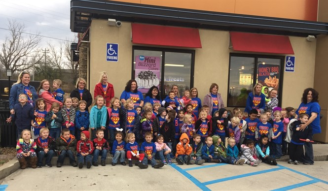 Preschool students visit Dairy Queen after completing a unit on restaurants.