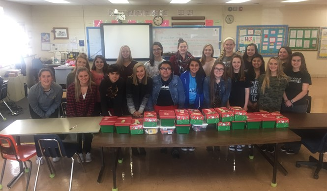 CCATC HOSA students collected items and packed nineteen Operation Christmas Child shoeboxes.