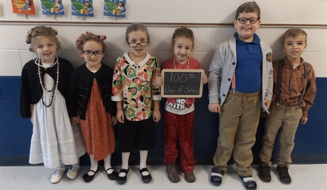 Ms. Tiffany Norris' kindergarten class at ECC celebrates the 100th day of school!