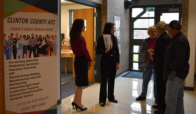 CCATC students act as tour guides for guests at the Clinton College and Career Center Open House.