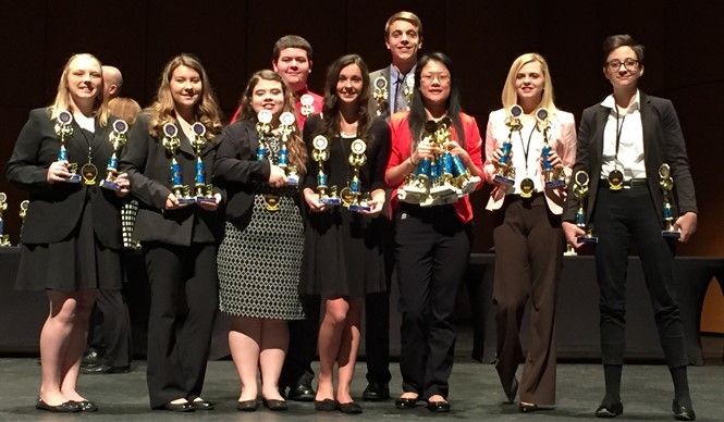 CCATC FBLA members show off their competitive event awards at the Regional Leadership Conference.