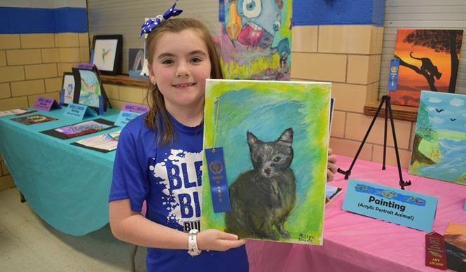 AES student Adalyn Duvall won 1st Place in acrylic painting at the 9th annual Gifted & Talented Art Show.