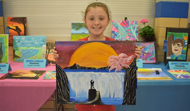 AES student Sydney Lowhorn won 1st Place in acrylic painting at the 9th annual Gifted & Talented Art Show.