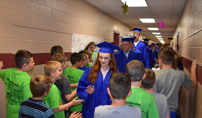 The CCHS graduating class visited Albany Elementary School for their Senior Walk on the last day of school.