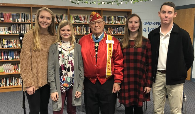 "Medal of Honor winner Hershel ""Woody"" Williams visited CCMS to present the school with the most recent edition of the Medal of Honor book."