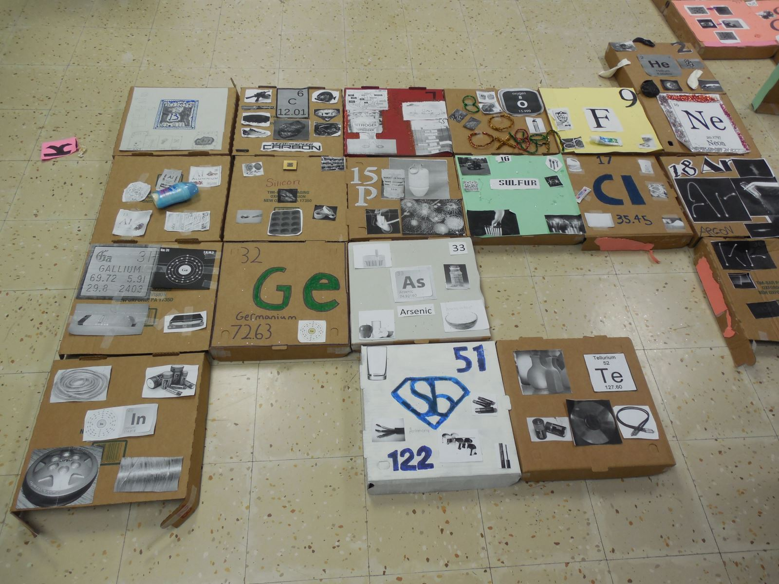 Cchs students build periodic table clinton county high school was assigned an element and designed the box to represent qualities of that element the boxes were then hot glued together to form the periodic table urtaz Images