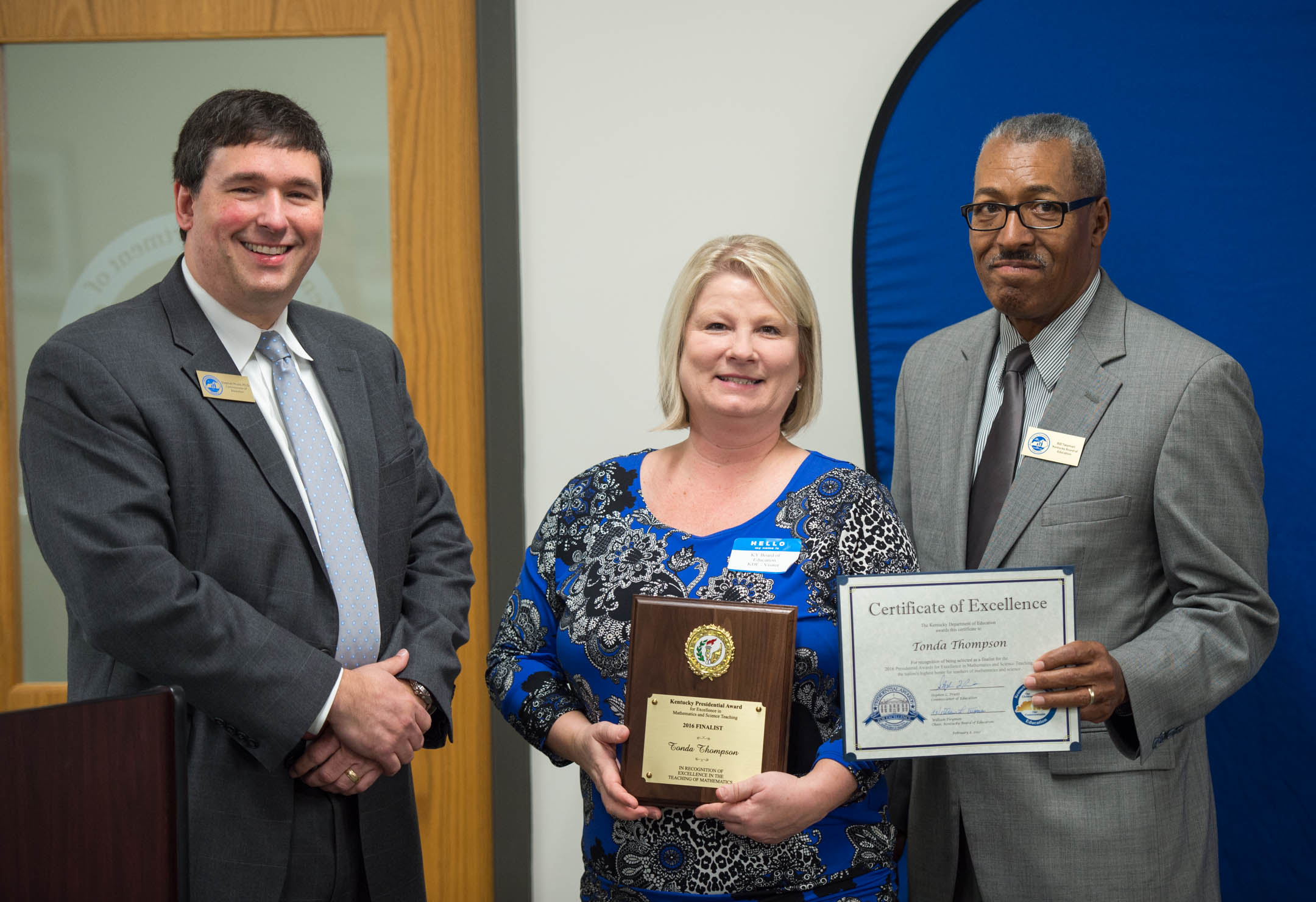 Albany Elementary School Math Recovery teacher Tonda Thompson was recognized as a nominee for the 2016 Kentucky Presidential Awards for Excellence in Math and Science Teaching at the February 8th Kentucky Board of Education Meeting.
