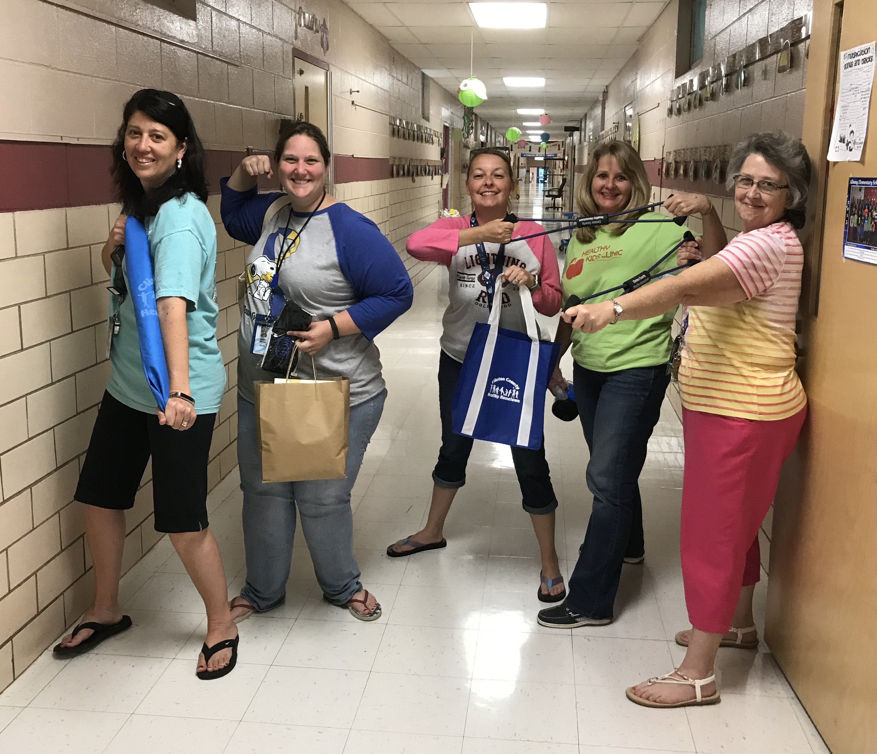 Clinton County Healthy Hometown recently awarded prizes to the faculty and staff Be Active Club members at ECC, AES, CCMS, and CCHS for the last 9-weeks.