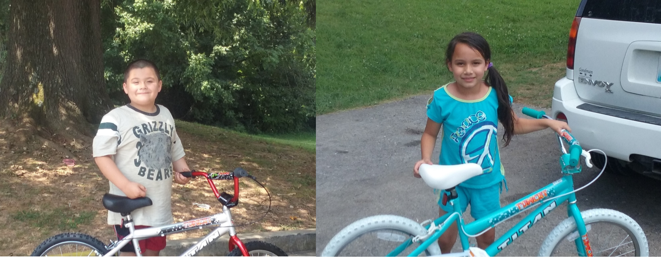 Bryson Frazho and Shaila Pascual were the lucky winners of bicycles given away at the end of the Clinton County Food Service Summer Feeding Program.