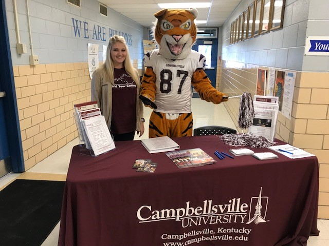 On October 2, 2018 Campbellsville University's very own mascot Claws the Tiger visited students at Clinton County High School during lunch, along with the new Site Coordinator for Campbellsville University - Clinton Center, Mrs. Hannah Albertson.