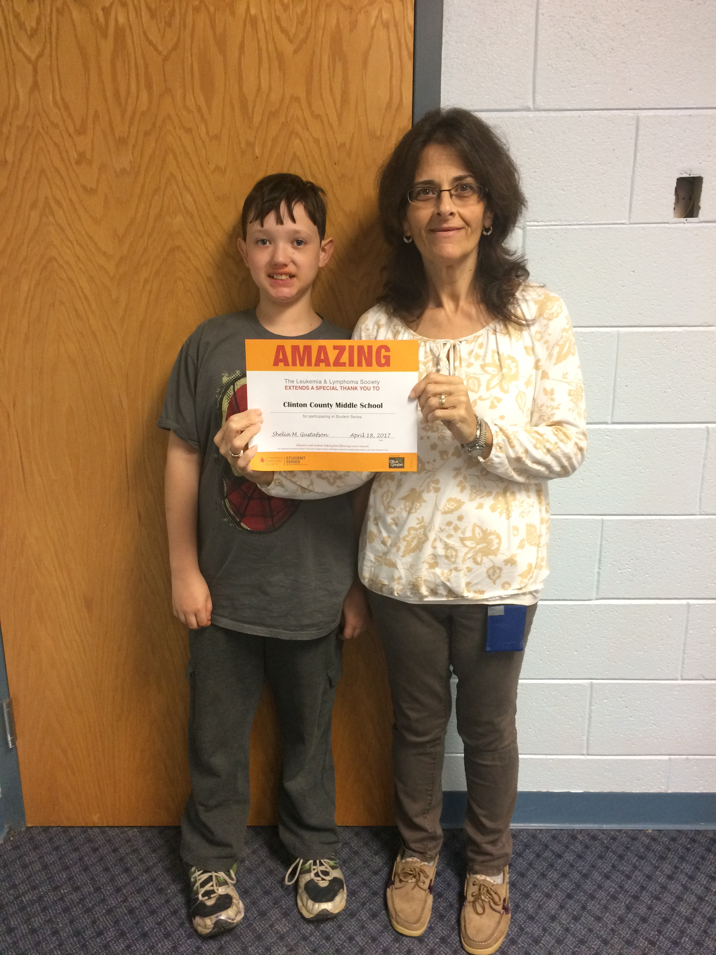 Ms. Willette Shelton and CCMS student Tyler Cross distributed and collected boxes, counted money, and kept up with the competition totals each day during Pennies for Patients.