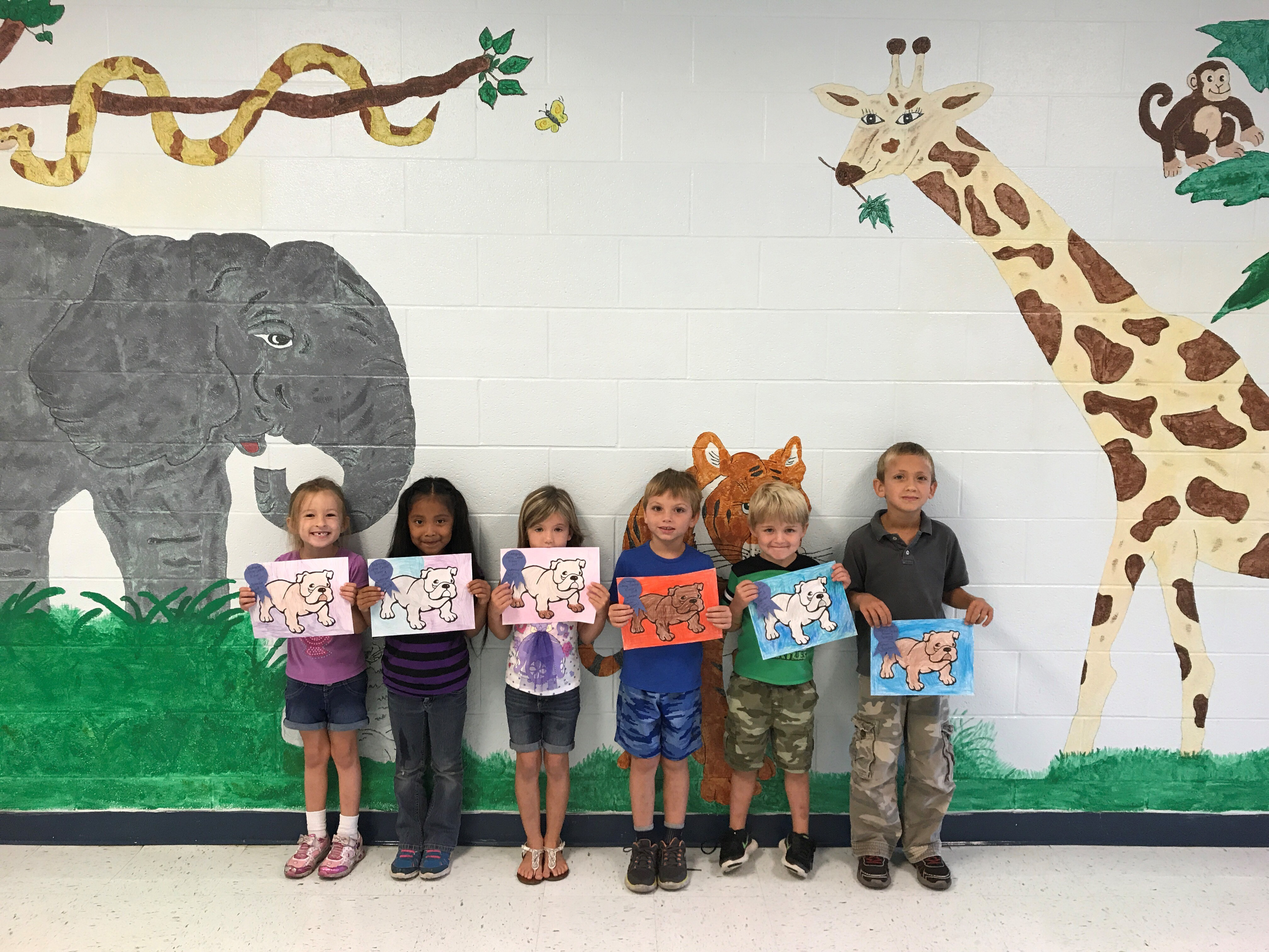 Pictured here are the winners of the Bulldog Coloring Contest from Mrs. Cindy Wallace's kindergarten related arts classes at the Clinton County Early Childhood Center.