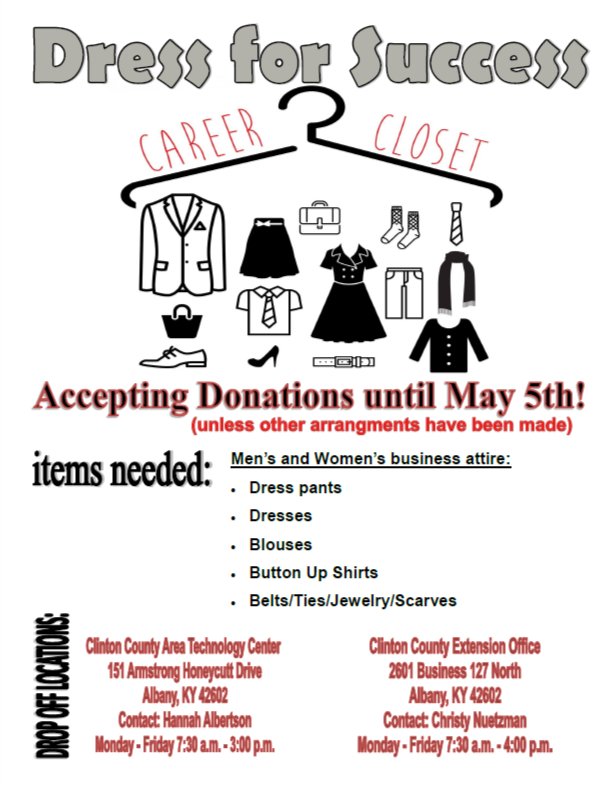 Clinton County Area Technology Center and the Clinton County Extension Office are teaming up to provide students with a better chance at a promising career with Clinton County's newest Dress for Success Career Closet.