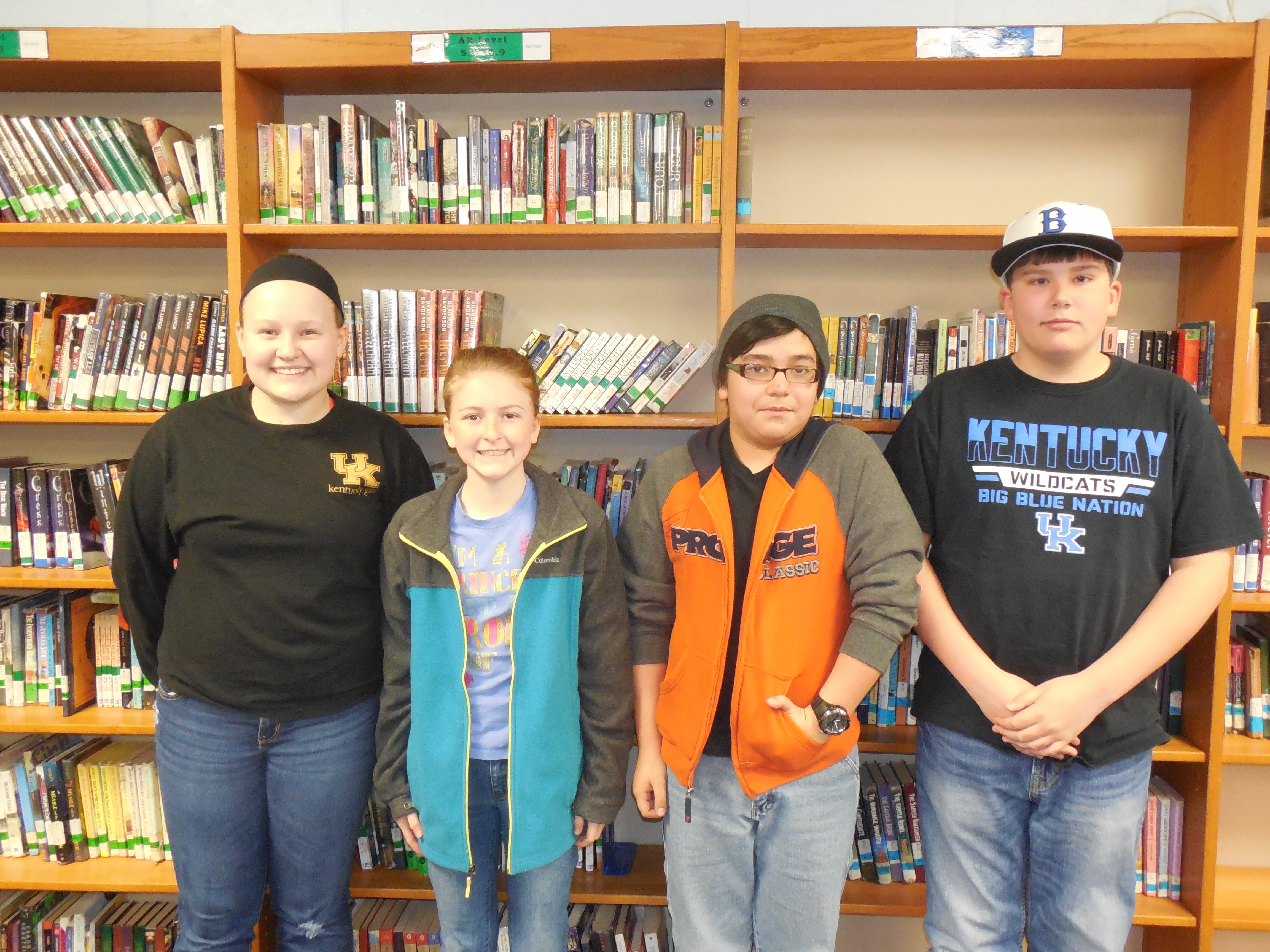 The winning team from the 7th & 8th grade competition was Read Athletics.  Team members include Katie Thurman, Makenzie Cope, Eli Rains, and Evan Claborn.