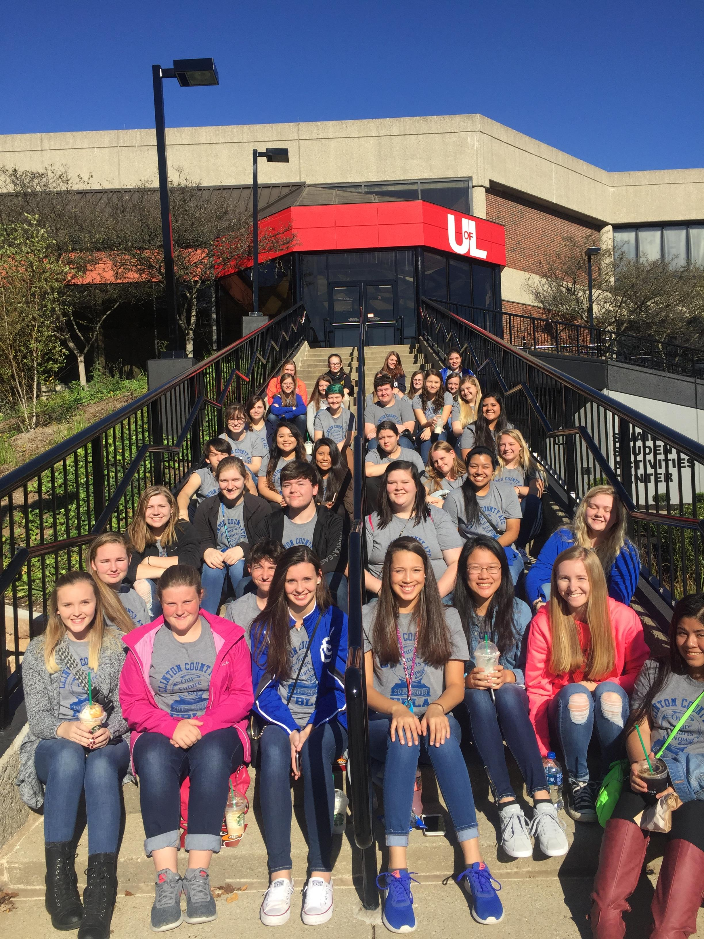 On Thursday, October 26, 2017, 38 members of the Clinton County Area Technology Center FBLA Chapter traveled to Louisville, KY, for a visit to Breakout Games and a campus tour of the University of Louisville.