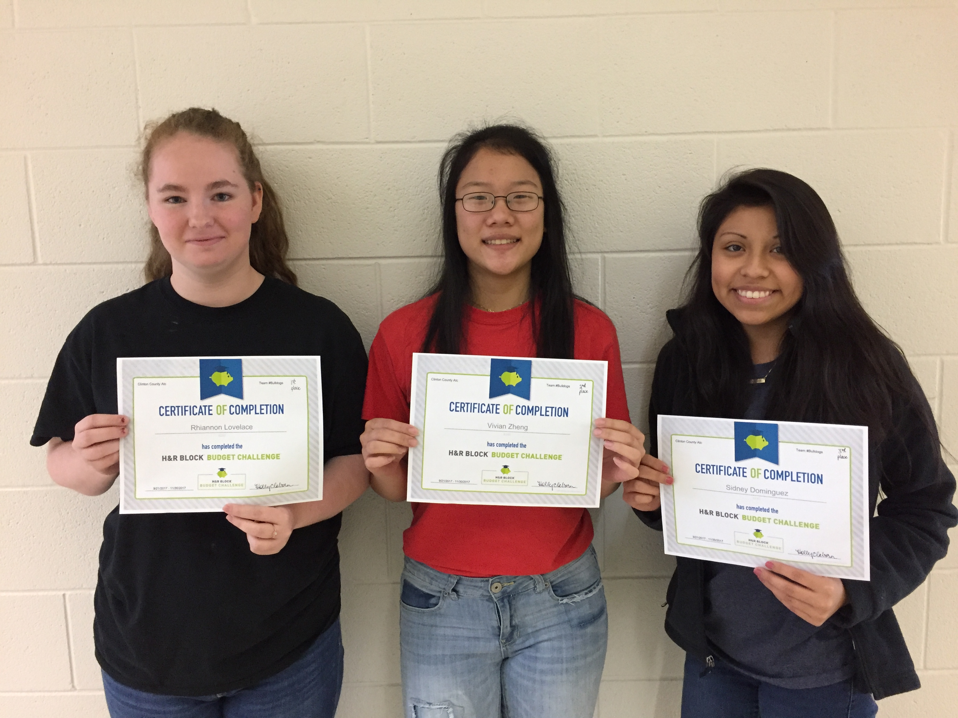 Pictured here are the top three finishers in the H & R Block Challenge for this semester at CCATC.