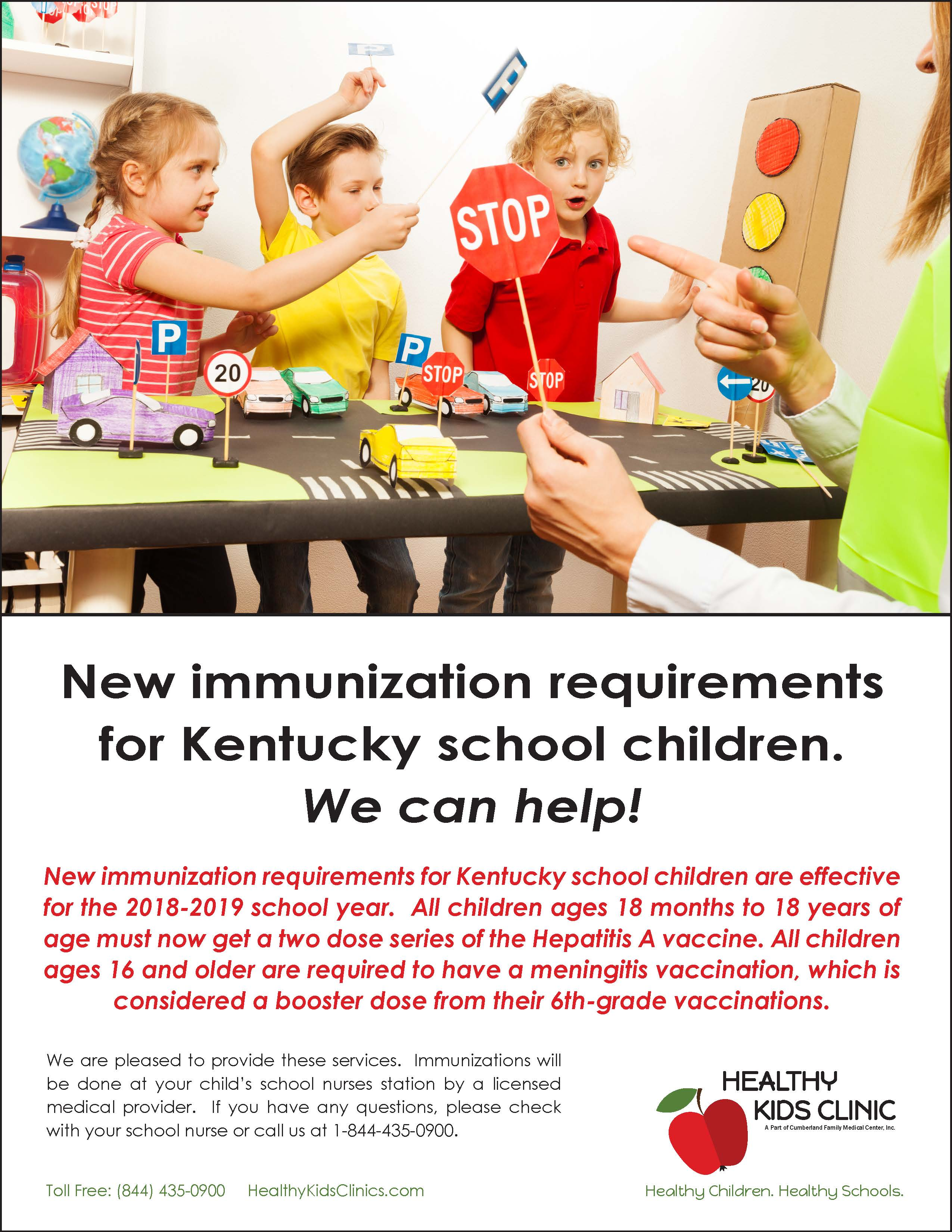 New immunization requirements for Kentucky school children are effective for the 2018-2019 school year.  Follow this link to learn more.