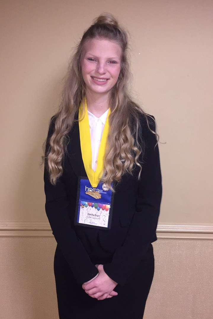 Emily Frye, a senior member of the CCATC HOSA organization, won first place in the Home Health Aide Competition at the HOSA State Conference.