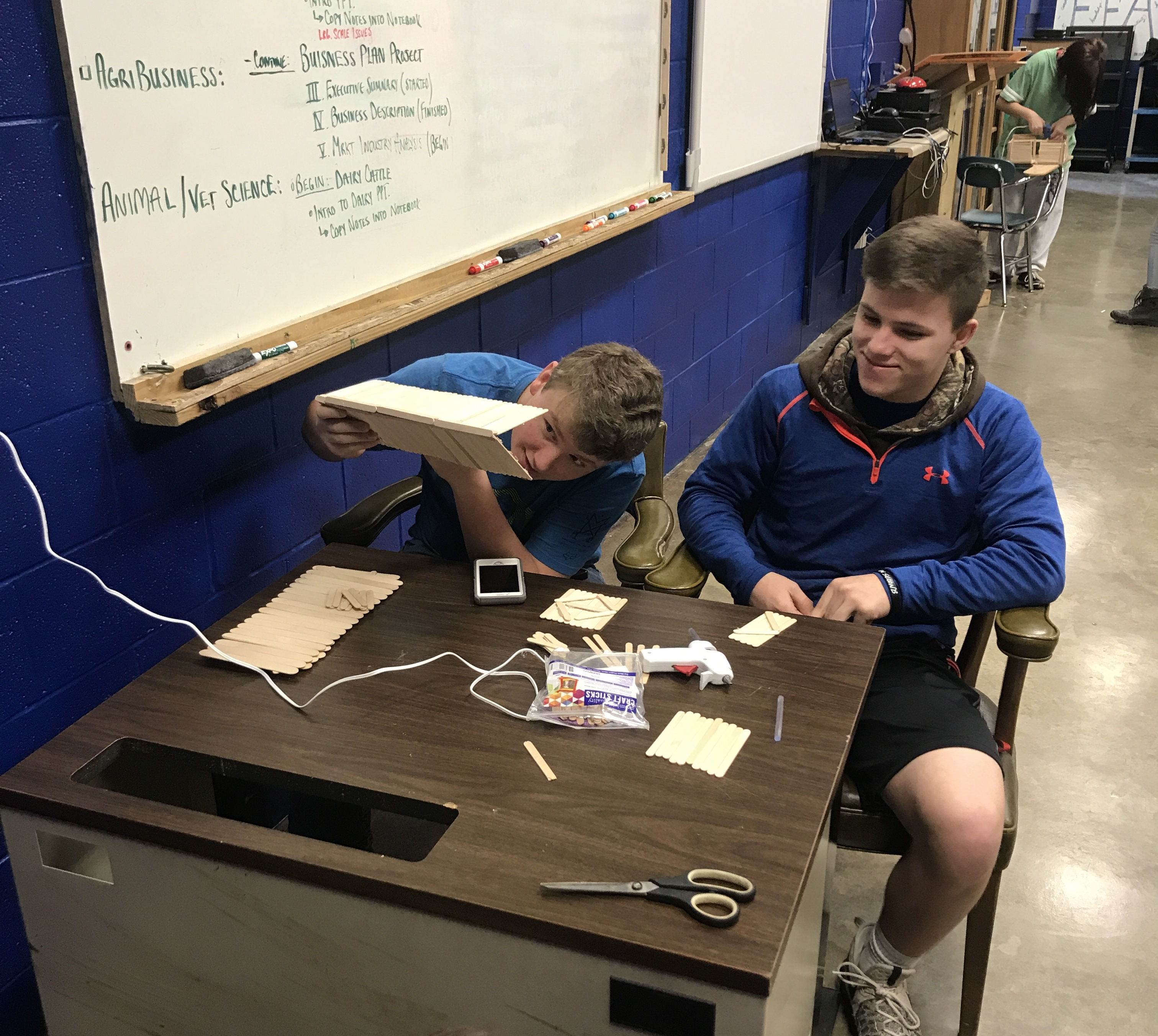 The students in Mr. Ben Prewitt's Agriculture Structures and Design classes at Clinton County High School built barns out of Popsicle sticks!