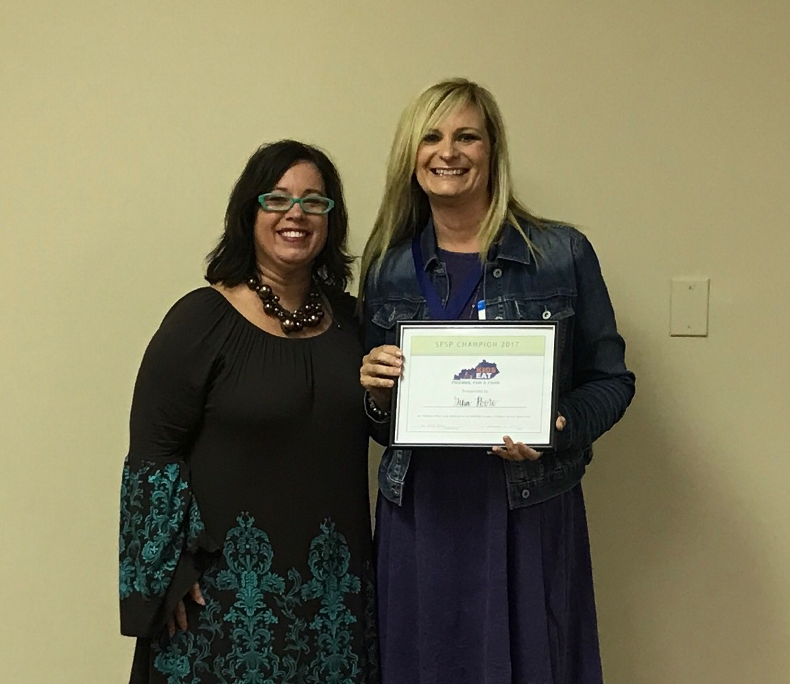 On Tuesday, September 12th, Gina Poore accepted a Summer Food Service Program Champion award for her work with the Clinton County Summer Feeding Program.