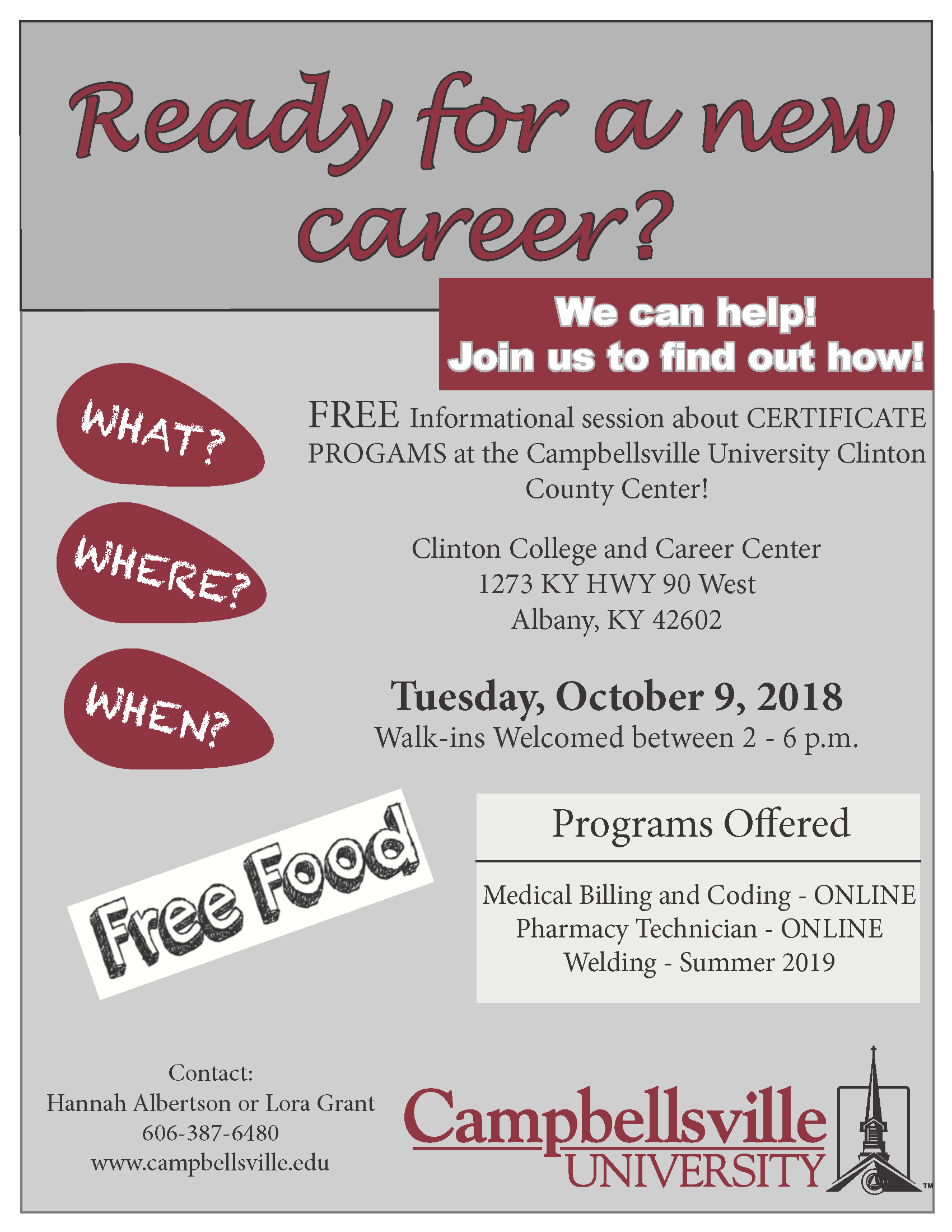 Campbellsville University will offer an informational session about available certificate programs at the Clinton College and Career Center on Tuesday, October 9th.