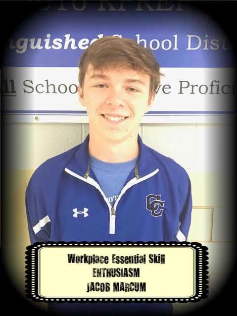Jacob Marcum was awarded the Workplace Essential Skill Award for ENTHUSIASM in Carpentry.