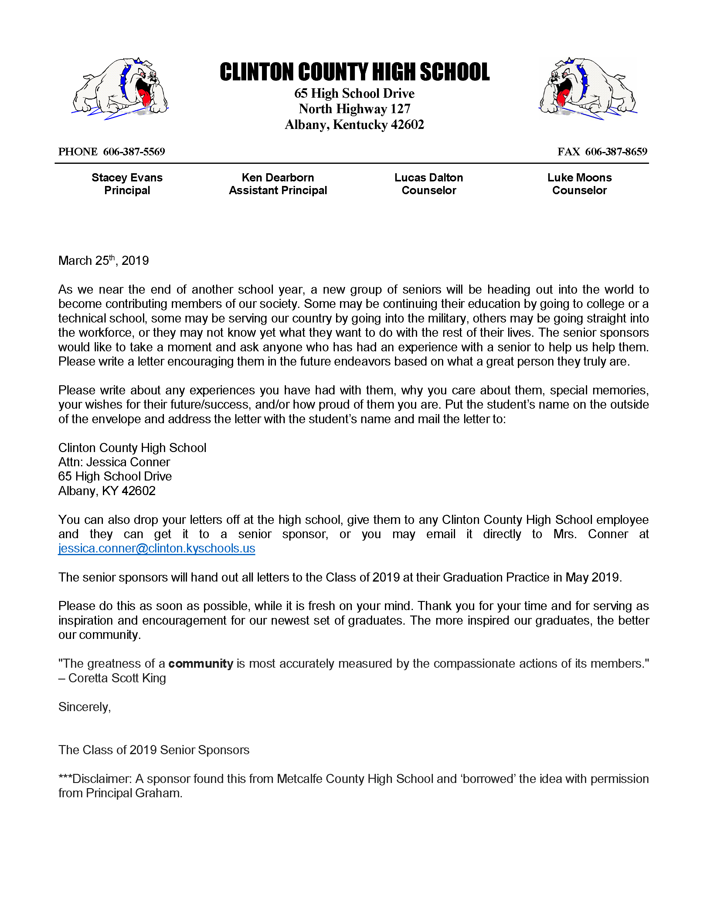 Would you like to help make graduation extra special this year? Read this letter from the Class of 2019 Senior Sponsors to find out how!