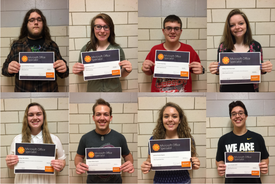 Clinton County Area Technology Center students earned a total of 44 Microsoft Office Specialist (MOS) certifications in Digital Literacy during the spring semester.