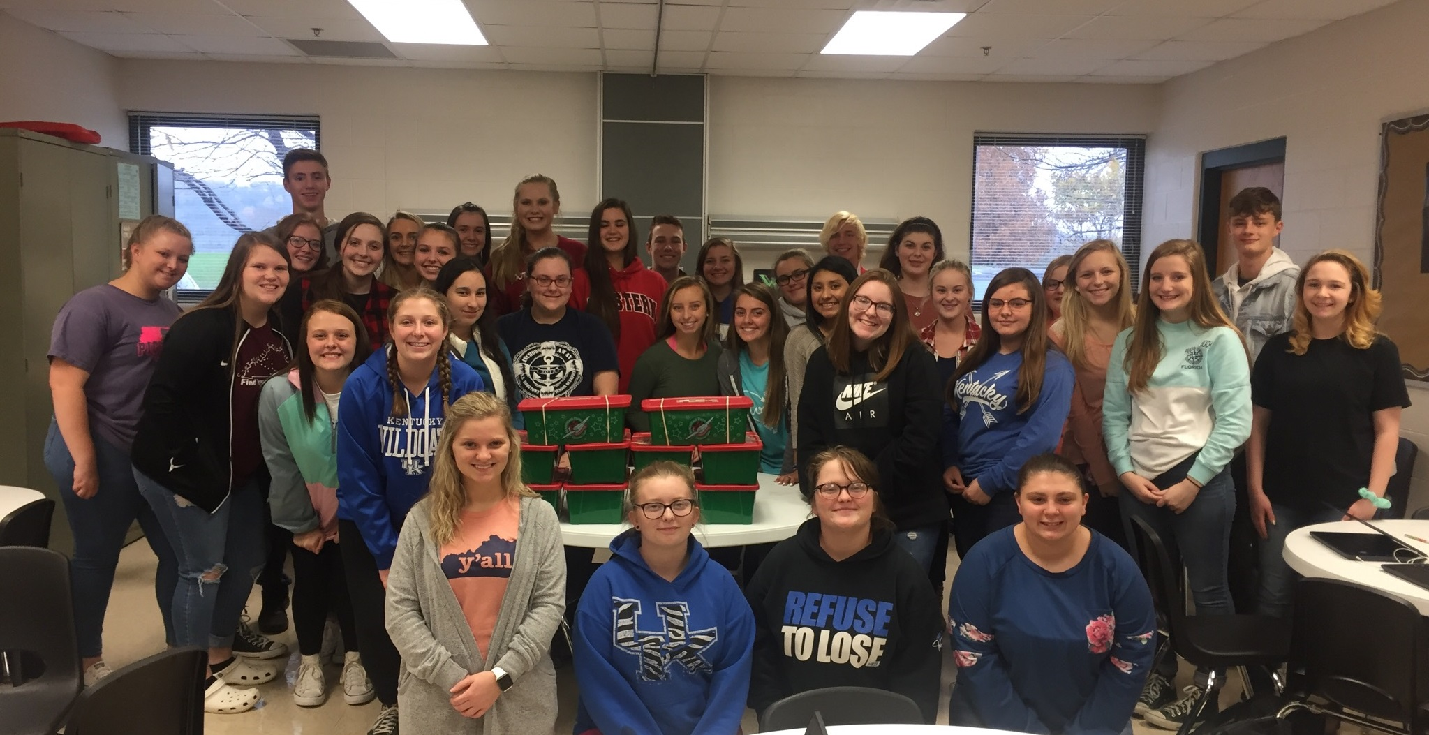 HOSA students participate in the annual packing of shoe boxes for Operation Christmas Child!