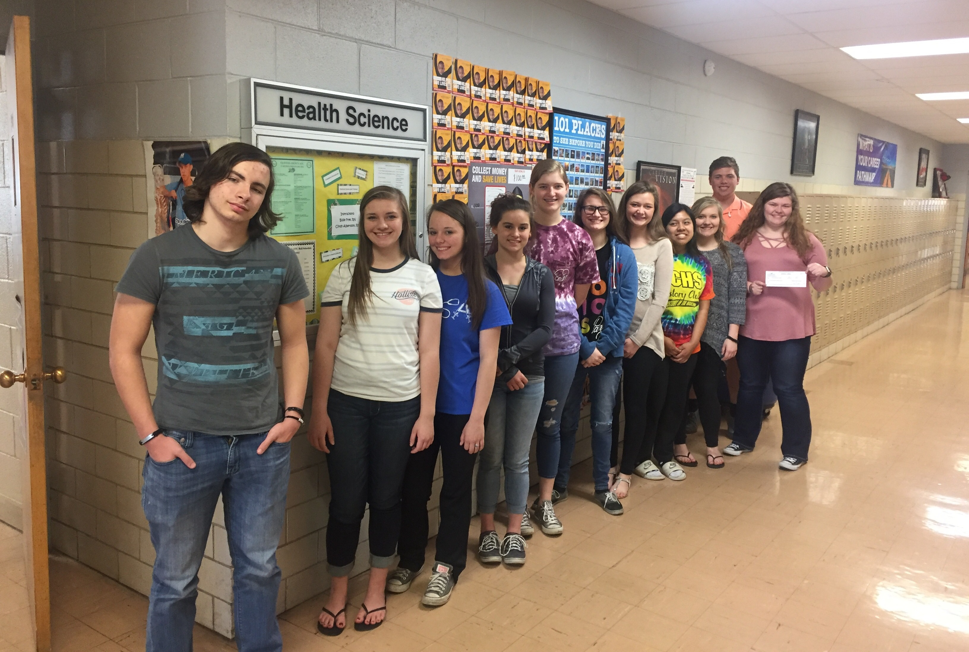 Clinton County Area Technology Center HOSA, FBLA, and SKILLS USA students raised $117.00 during the annual Pennies for Patients fundraiser.