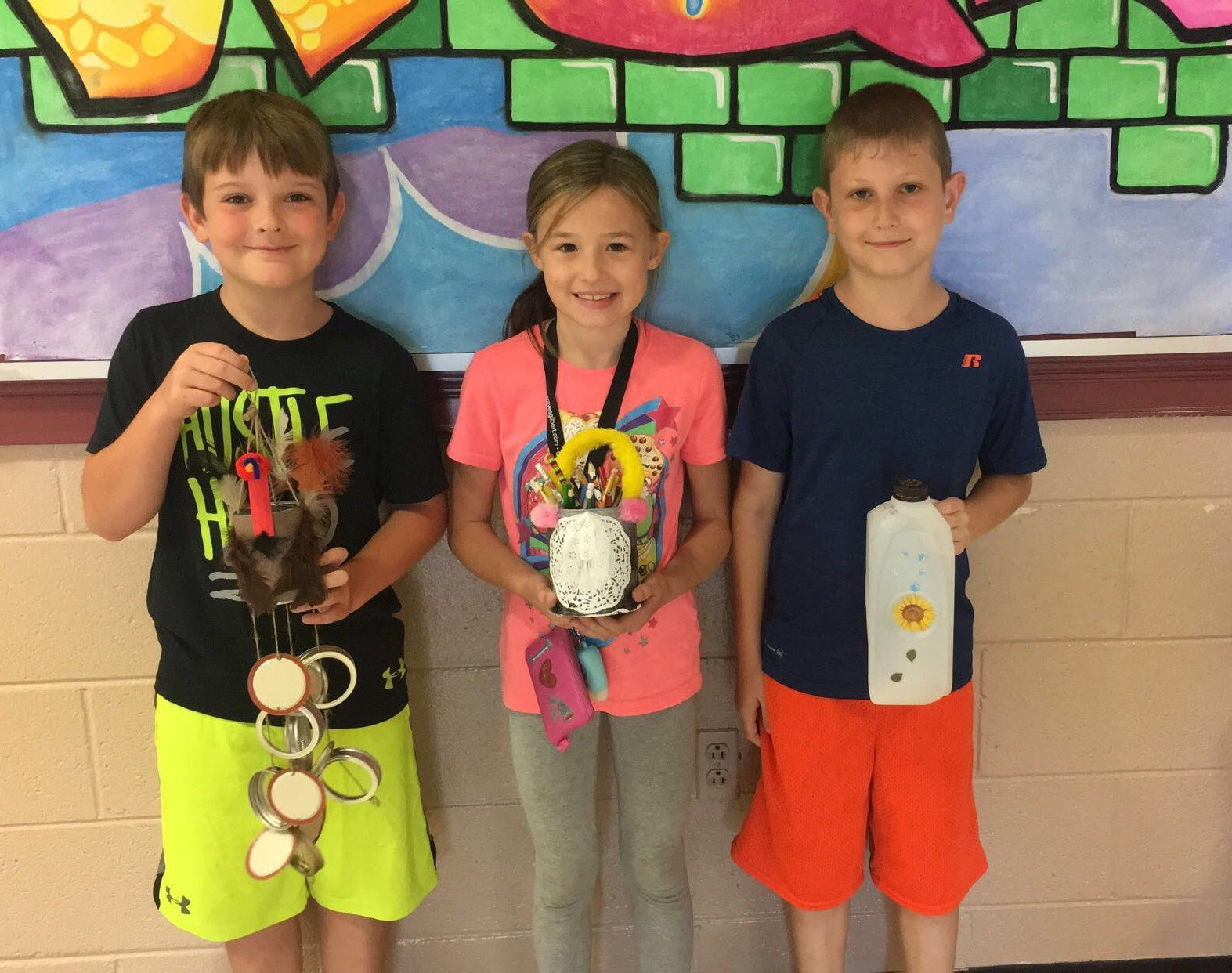 "Students in Ms. Mindie Anderson's third grade class at Albany Elementary School recently created recycling projects after reading the story ""Earth Smart."""