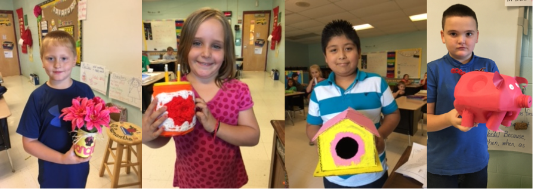 At AES, students in Mrs. Samantha Blackaby's 3rd grade class recycled found items after reading about the Goodwillie Environmental School located in Ada, Michigan.