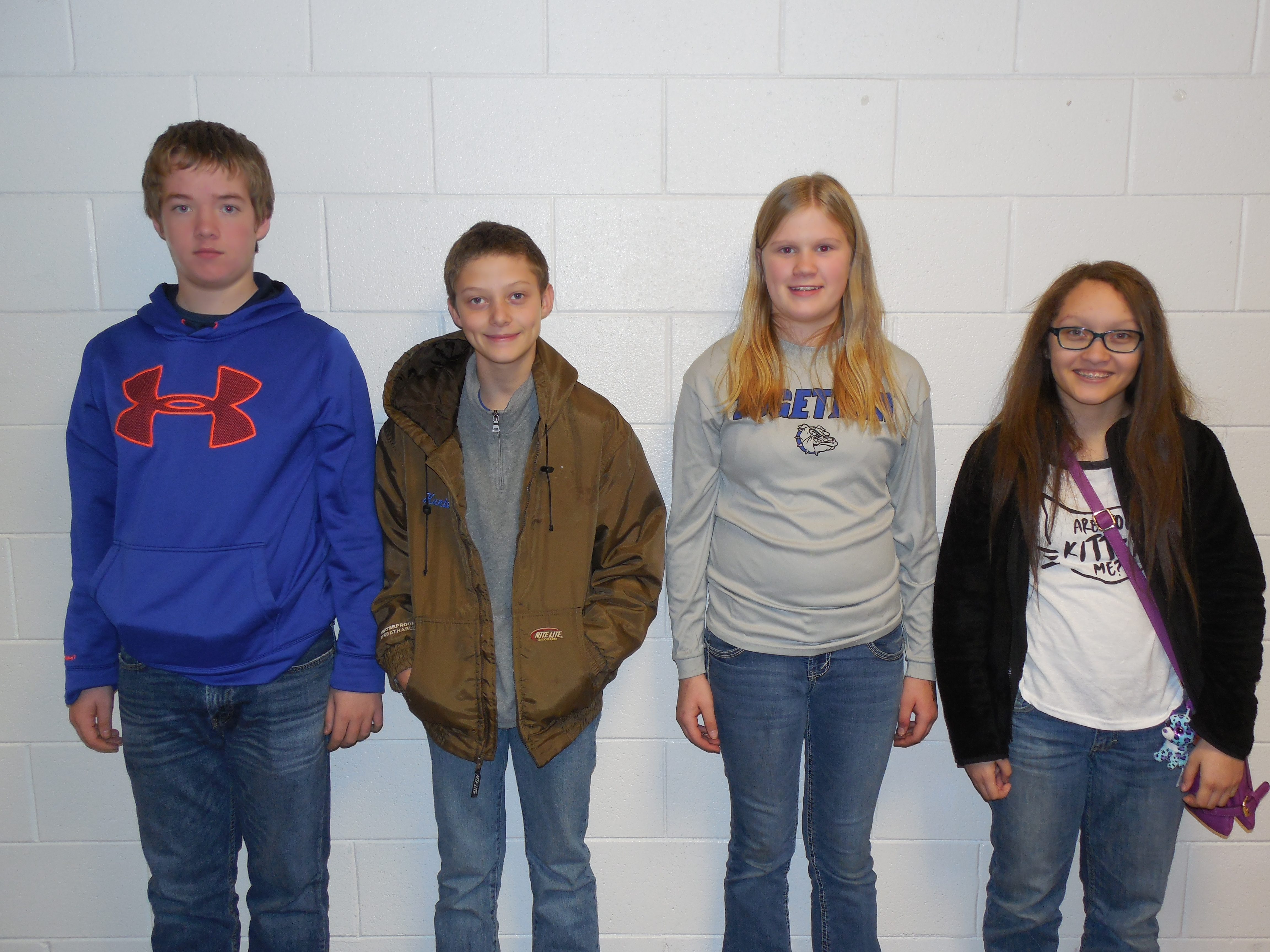 8th grade attendance winners:  Ryan Irwin, Hunter Elmore, Shawna Conatser, and Sidney Alexander (Haleigh Irwin—not pictured).