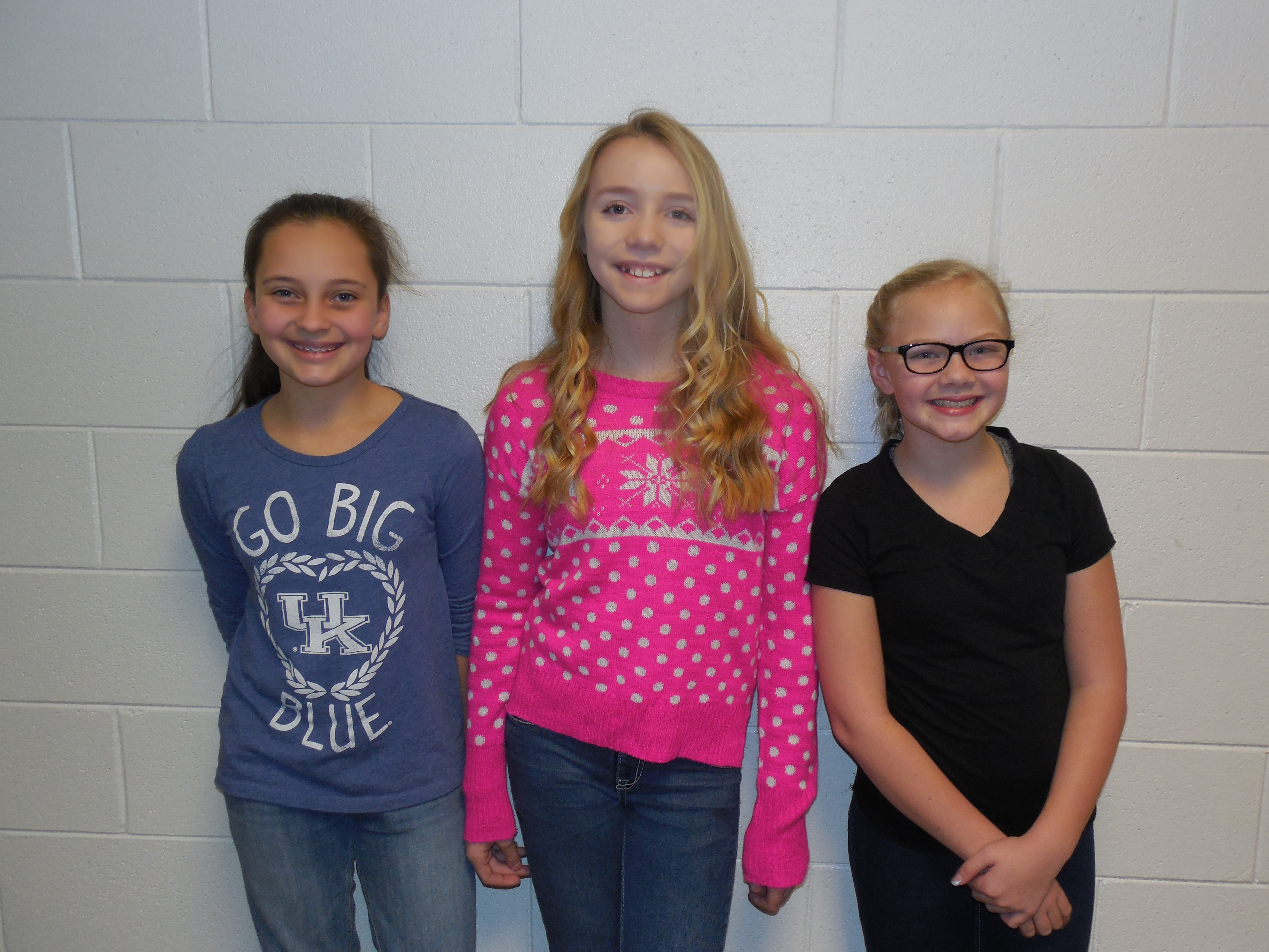 6th grade attendance winners:  Keara Lowe, Sadie Moons, and McKenna Moons (Ashton Daniels & Ben Latham—not pictured).