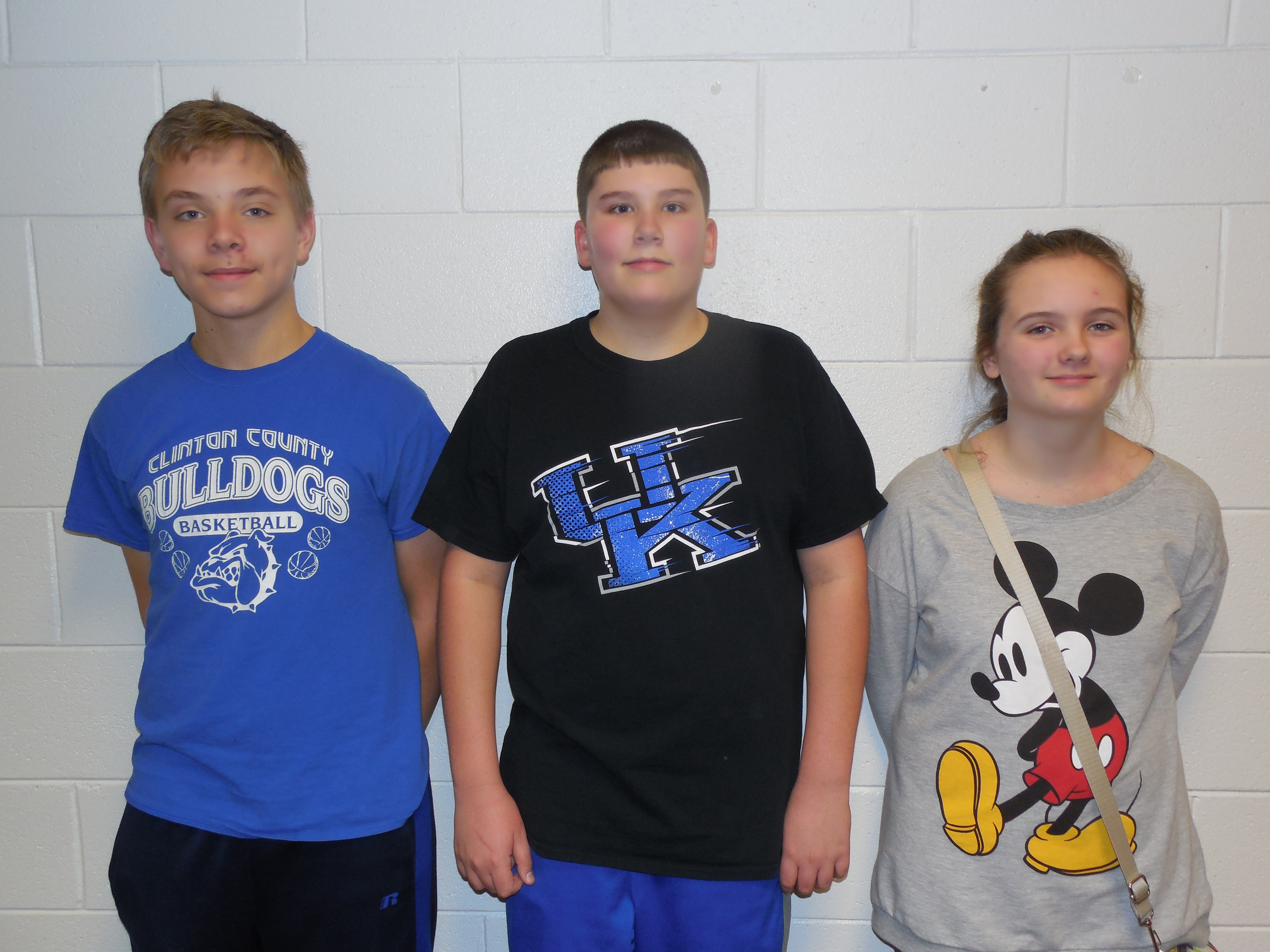 7th grade attendance winners:  Blake Harlan, Evan Claborn, and Sydney Chamberlain (Dane Harlan—not pictured).
