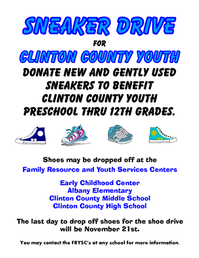 News clinton county high school help out local youth by donating to the sneaker drive sciox Images