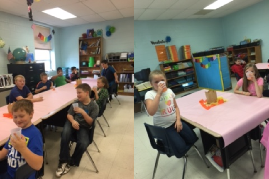 The students in Mrs. Jona Guffey's and Mrs. Samantha Marcum-Blackaby's 3rd grade classes completed their book study of Because of Winn Dixie by celebrating like the book characters did, with Dump Punch and Egg Salad!